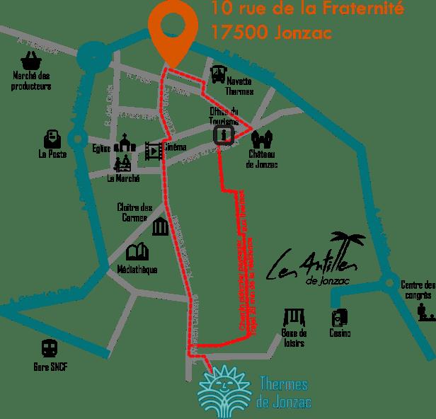 Adresse de contact Hestia Locathermes et plan du centre-ville de Jonzac
