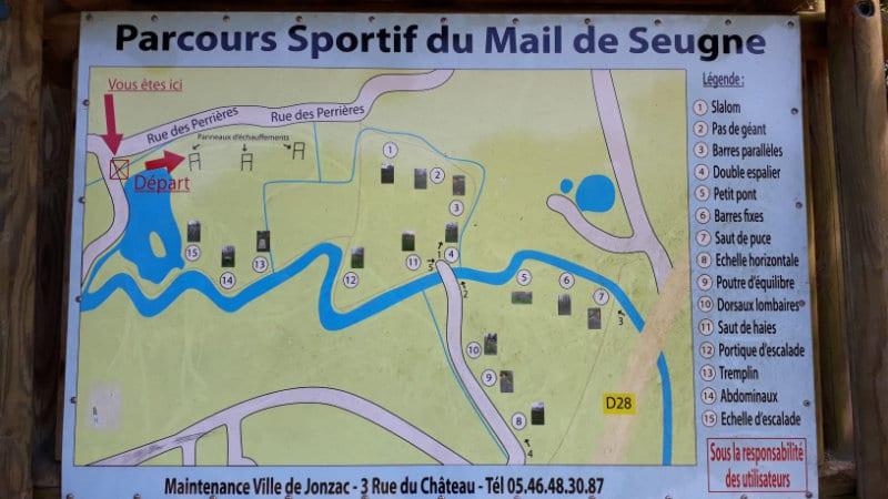 Carte du parcours sportif du mail de Seugne à Jonzac