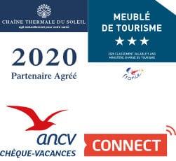 Hébergement meublé de tourisme classé, partenaire thermes de Jonzac et label chèque vacances