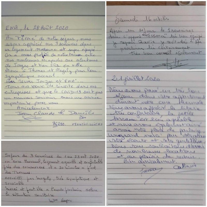 Livres d'or avec commentaires et avis location saisonnière Jonzac
